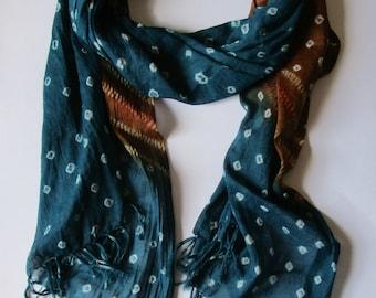 Handkerchief of cotton, handkerchief made hand, handkerchief stained hand, handkerchief original dyed by hand scarf, handmade scarf, cotton scarf