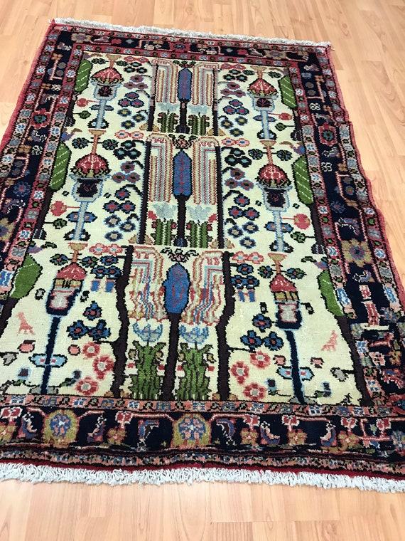 "2'10"" x 3'10"" Persian Hamadan Oriental Rug - 1950s - Hand Made - 100% Wool"