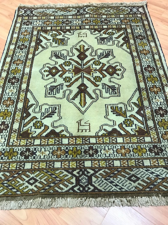 "2'2"" x 2'10"" Persian Turkeman Oriental Rug - 1950s - Hand Made - 100% Wool"