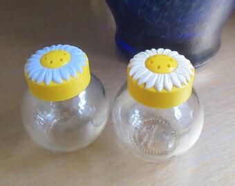 Salt Pepper Shakers, Solmax Mercan, 1970s, Collectable, PLastic lids, Flower Lids, Kitchen