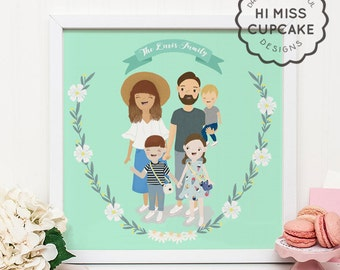 Custom Family Portrait Illustration // Full Body // Hand Illustrated / Floral Wreath / Wedding Gift / Anniversary Gift / Personalized Gift