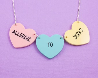 Candy Heart Necklace - Allergic To Jerks