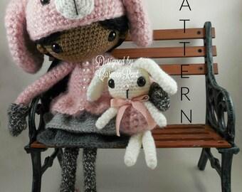 June and her Rabbit- Amigurumi Doll Crochet Pattern PDF