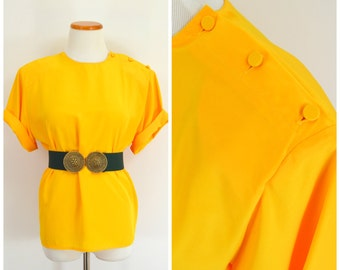 Vintage 80s Yellow Blouse | Mustard Yellow Top | Bright Yellow Short Sleeve Blouse | Button Shoulder Yellow Secretary Blouse | Boxy Top Med