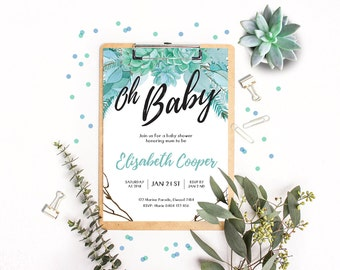 Personalised Printable Baby Shower Invitation - Boho Oh Baby