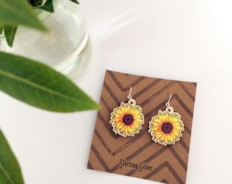 Wooden Sunflower Earrings, colourful charm jewellery with Sterling Silver hooks, accessory for summer day, ideal for mother, daughter, aunt