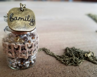 Message In A Bottle Necklace~ Family