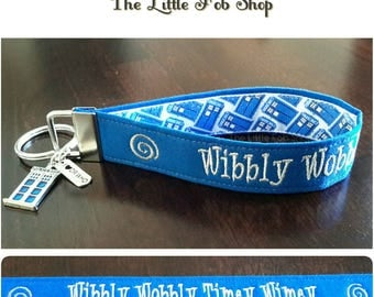 Embroidered Dr. Who Inspired Key Fob/Wristlet with Charms - Wibbly Wobbly Timey Wimey