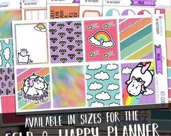 In Unicorn We Trust Full Weekly Kit KT-038  | 6 Half Sheets Of Planner Stickers