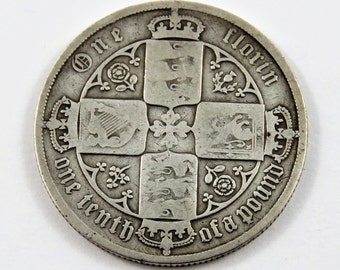 Great Britain 1881 Sterling Silver Florin Coin.