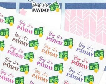 Payday Stickers, Work Stickers, Money Stickers, Payday Happy Planner Stickers, MAMBI Payday Stickers, Planner Stickers for Erin Condren
