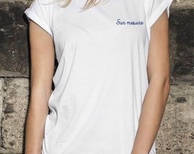 Featured listing image: T-shirt women white with custom embroidery / / hand embroidery / / bachelorette party / / Valentine's day / / unique gift idea / / custom
