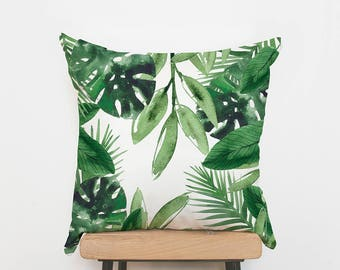 Palm cushion cover, Palm pillow, Tropical leaves cushions, throw pillows, green cushion, designer, unique cushion, UK seller, Trend 2017
