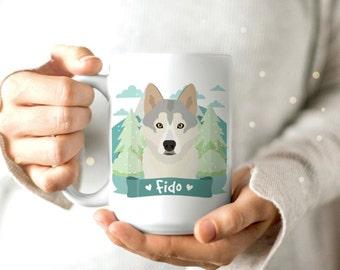 Siberian Husky Gift - Dog Mug - Dog Lover Gift - Dog Portrait - Dog Drawing - Cute Coffee Mug - Personalized Coffee Mug