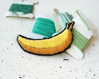 Embroidery Brooch - BANANA Brooch - Food jewelry, Andy Warhol brooch, Food Brooch, Food Pin