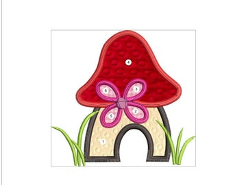 APPLIQUE CUTE MUSHROOM machine embroidery  download 3 diff sizes ( 3x3   4x4   5x5 )