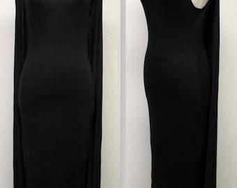 Stunning Long Maxi Dress, A Line Splash Dress,Sleeveless Dress, Batwing Dress, Cape Dress, Black, Sizes S, M, L