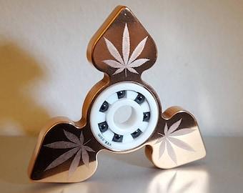 Fidget Spinner 'Sticky Icky Spade'  - Laser Engraved EDC Spinner Copper Metallic Fidget Spinner Marijuana Leaf Ganja