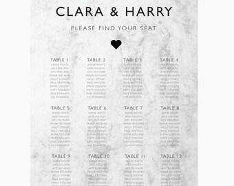 Wedding Seating Chart,  Printable seating chart, Find your seat sign,  Marble wedding seating chart,  Black and white wedding