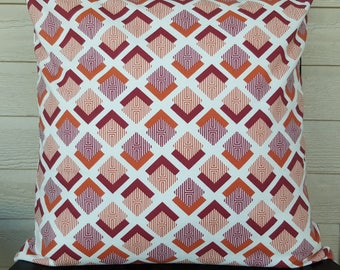 CLEARANCE Geo Print Pillow Cover - Orange and Maroon - 16x16