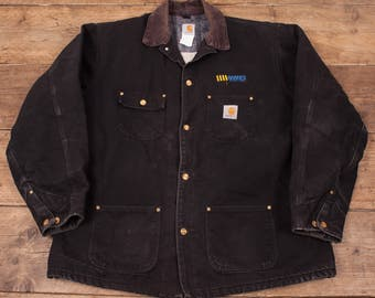 "Mens Vintage Carhartt Blanket Lined Workwear Jacket Black XL 48"" Tall R5226"