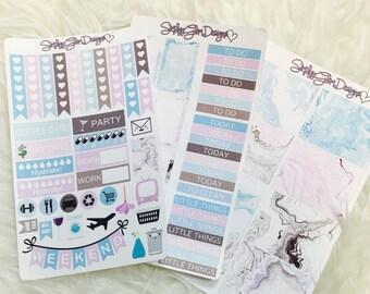 Marbled Memories Weekly Themed Sticker Kit | Erin Condren & Plum Paper Planner
