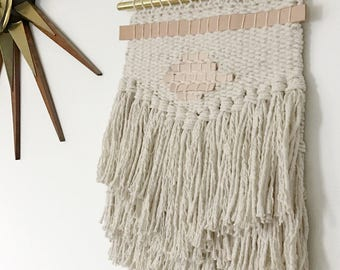 Creamy White and Leather Handmade Woven Wall Hanging || Woven Tapestry