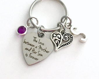 The love between a mother and her son is forever KeyChain, Mom Keyring, Gift for Mother's Day Key chain Jewelry Initial Birthstone present