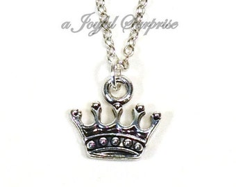 Silver Tiara Necklace, Princess Crown Jewelry, Gift for Teenage Girl  Queen Royalty Reign, Birthday Theme party Favor Grab bag Present 218