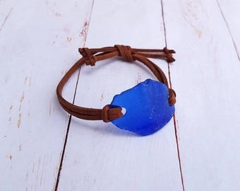 Cobalt Blue Maine Sea Glass & Suede Leather Adjustable Bracelet / Maine made Jewelry / Gift for Her / Blue Seaglass / Natural Tumble