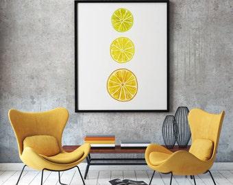 citrus fruit watercolor art print food painting kitchen wall decor watercolor orange lemon lime print colorful watercolor still life print