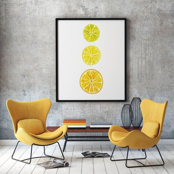 Kitchen Wall Decor Orange : Citrus fruit watercolor art print food painting kitchen wall
