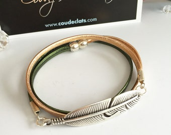 Pink and green feather bracelet