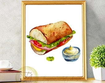 Food Art, Sandwich Print, Meal Art, Kitchen Art, Sandwich, Kitchen Print, Food Print, Eat Your Sandwich, Printable Sandwich