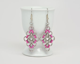 Japanese Diamond Earrings in Stainless Steel and Pink Anodized Aluminum