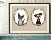 Custom pet portrait, Custom Cat portrait, Birthday Gift, Personalized Pet, Cat Memorial, Last Minute Gift, Cat Illustration