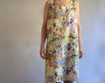 The Beach Dress- Women's Linen A-line Tank Dress - Print