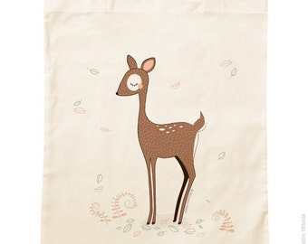 Organic cotton Tote Bag * deer * / groceries / Animal / forest / Woodland / green / vacation / Beach