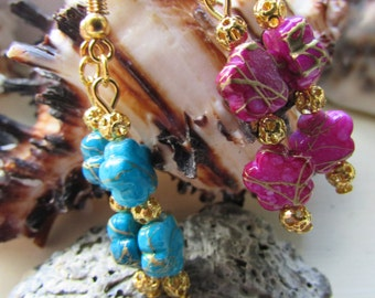 Pink and gold flower earrings , Blue and gold flower earrings , Gold plated flower bead earrings , Flower earrings , Gifts for her