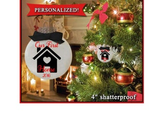 Our First Home, Christmas Ornament, Home Sweet Home Ornament,  New Home, Housewarming Gift, First House, Realtor gift, Couples gift