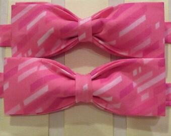 Pink Stripe Bow Tie