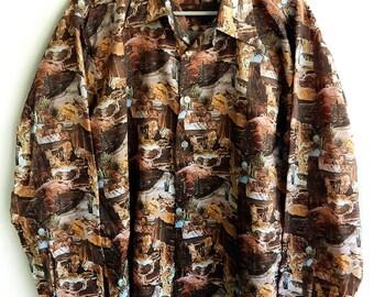Rare 1970's Collectible USA South West Desert Landscape Disco Polyester Photo Print Men's Shirt Large