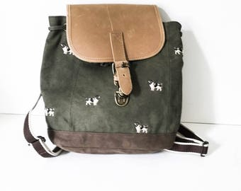L.L. Bean backpack - Canvas and leather backpack - Canvas and leather bag - Army green backpack - Embroidered backpack - Dog lover backpack