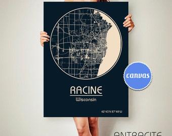 RACINE Wisconsin CANVAS Map Racine Wisconsin Poster City Map Racine Wisconsin Art Print Racine Wisconsin poster Racine Wisconsin map