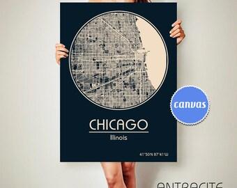 CHICAGO Illinois CANVAS Map Chicago Illinois Poster City Map Chicago Illinois Art Print Chicago Illinois poster Chicago Illinois map
