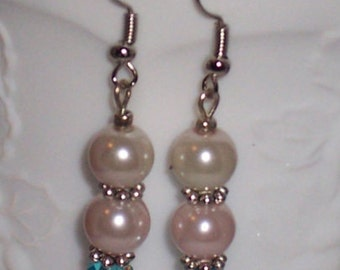 White Two Pearl Drop  Earrings with Turquoise and Silver Spacers. Free Shipping