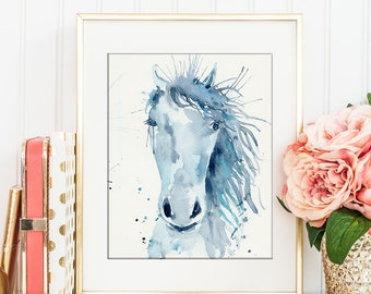 Watercolor Abstract Horse Portrait Digital Print for Instant Download