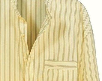 Smooth 2 fold cotton nightshirt, cream with black stripe,shell buttons, shirt tail,  mens