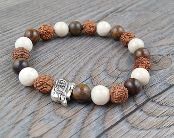 ON SALE!!!Hand made ring picasso jasper, ivory fossil and rudraksha 8mm - elephant