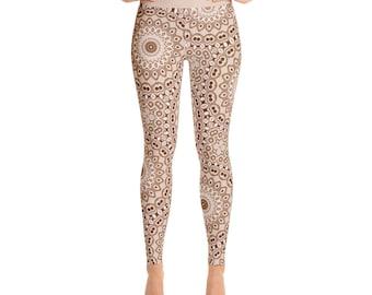 Brown Leggings - High Waist Stretchy Yoga Pants, Fashion Leggings, Brown and White Mandala Pattern Printed Tights